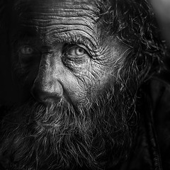 Patience (Ales Dusa) Tags: man portrait blackandwhite bwportrait face human humanity wrinkles beard elderly oldwrinkledman strongcontrast detailedportrait alesdusa canon streetshot candid streetportrait outdoor canoneos5dmarkii ef70300mmf456lisusm hanks