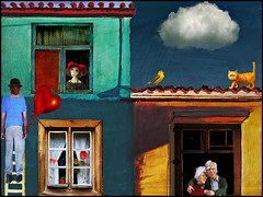 Love takes two (bdira3) Tags: house cloud window elderly couple cat bird funny ladder man balloon heart naive art