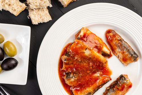 Flat lay above Sardines Fish in tomato sauce
