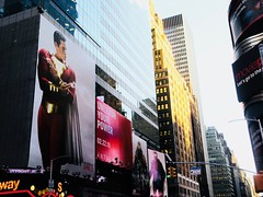 Shazam The Big Red Cheese Billboard 42nd St NYC 3665 (Brechtbug) Tags: shazam billboard 42nd street new captain marvel the big red cheese poster ad nyc 2019 times square movie billboards york city work working worker paint painting advertisement dc comic comics hero superhero alien dark knight bat adventure national periodicals publication book character near broadway shield s insignia blue forty second st fortysecond 03122019 lightning flight flying march