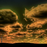 Turbine Sunset with Clouds thumbnail