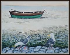 Zwei Mantelmöwen und ein Boot (antje whv) Tags: malerei painting kunst art vögel birds mantelmöwen blackback strand beach steine stones
