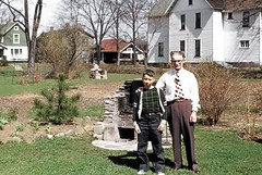 John Grumley & Mike (Me) at Grandparents home backyard bring back fond memories in a real railroad city, Elmira, NY, Fall 1952 (alcomike43) Tags: elmiranewyork city home house backyard fireplace slide mikerobbins alcomike43 yard outsidebasementcellardoors grandparents johngrumley railroads photo photograph color old historic vintage classic