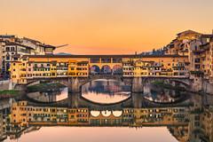 Firenze - Ponte Vecchio (Alessandro Argentieri) Tags: bridge pontevecchio cityscape tuscany panoramic sunset toscana oldbridge reflection tramonto italy italia panorama skyline firenze florence