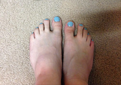 Robin's Egg Blue (devistating) Tags: men man feet foot painted nails toes blue