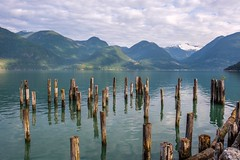 Remnants of Enterprise (MIKOFOX ⌘ The Purge IS Wrong!) Tags: canada britishcolumbia dock xt2 pole pier water learnfromexif july ocean landscape provia mountains fujifilmxt2 summer showyourexif mikofox xf18135mmf3556rlmoiswr
