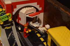 Ah man. (LegoLyman) Tags: accident hospital road ambulance skate park red white mummy lego city legolyman bricksburg