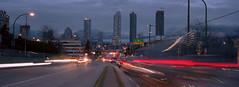 Brentwood (Orion Alexis) Tags: film 35mm analog cityscape city urban panorama widscreen cinematic vancouver burnaby light trails streaks night evening skyscraper landscape fujifilm tx1 xpan kodak portra 400