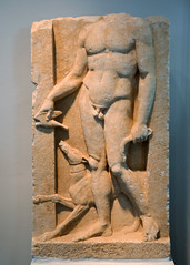 Gravestone representing a young athlete with his dog (diffendale) Tags: 5thcbce classical phylla euboea evvia euboia greece ελλάδα grecia griechenland grèce греция yunanistan greek greco grecque اليونان ελληνικόσ museum museo museu musée μουσείο музеи müze artifact display exhibit متحف ancient antico antique archaeological archeologico sculpture statue bildhauerkunst plastik γλυπτική escultura scultura скульпту́ра نحت heykel athlete athletics ephebe youth nude male competitor games sports strigil dog cane tomb tomba grave burial human necropolis cemetery tombe tombeau sépulture grab tumba sepultura