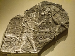 Relief depicting a cavalryman crossing a stream from the southwest palace of Sennacherib in Nineveh Neo-Assyrian Period 704-681 BCE (mharrsch) Tags: cavalry soldier mesopotamia nineveh palaceofsennacherib neoassyrian 8thcenturybce 7thcenturybce alabaster gypsum horse fish armor armour ancient metropolitanmuseumofart newyork mharrsch