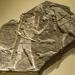 Relief depicting a cavalryman crossing a stream from the southwest palace of Sennacherib in Nineveh Neo-Assyrian Period 704-681 BCE thumbnail