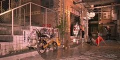urban future, the painter (Dani Boy Boy Dani) Tags: daz studio 3d render urban future painter backstreet bicycle photograph girls dog