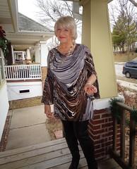 About To Test The Age-Old Question: (Laurette Victoria) Tags: porch boots leggings pleather dress blonde laurette woman necklace earrings