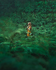 Be Here Now (Elizabeth Gadd) Tags: forest ferns green lush woman girl yellow gold dress nature portrait