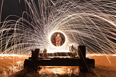 Nent (Tom Whitfield) Tags: wire wool spinning night photography light painting hartlepool steetley steetly pier beach sand wood construction abandoned derelict ocean sea waves shore tide long exposure bouncing sparks bounce