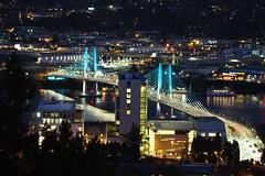 Tillicum Bridge: Night (Eclectic Jack) Tags: oregon portland ohsu university science health sunset dusk twilight bridge