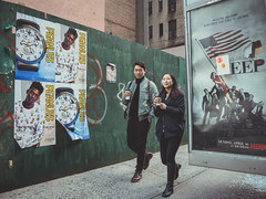 I see you (Vincent F Tsai) Tags: street streetphotography urban strangers people walking city newyorkcity nyc coffee peanuts posters couple smile panasonic lumixgx8 lumixg14mmf25