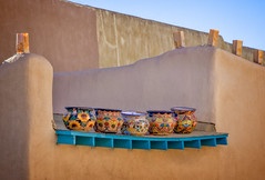 Five pots on the roof (Tigra K) Tags: unitedstatesofamerica us taos 2018 architdetail blue color lantern newmexico object ornament repetition roof town usa art pattern