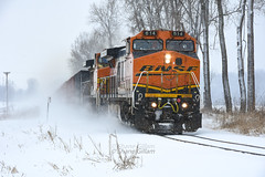January snow storm on the K line. (Machme92) Tags: bnsf burligrton bn ge dash9 railroad railfanning railroads missouri snow railfans rails rail row railroading railfan nikond7200 nikon american america santafe