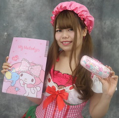 Want Your My Melody? (emotiroi auranaut) Tags: girl woman lady model beauty cute adorable pretty beautiful gorgeous mymelody bunny character case folder ponytails hair face smile smiling