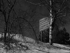 direction sign in the Black Forest (mgheiss) Tags: panasonic lumix gx9 schwarzweis monochrom schnee snow winter februar february schwarzwald nordschwarzwald blackforest wegweiser directionsign