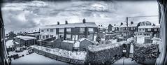 Terraces and snow. . . (CWhatPhotos) Tags: cwhatphotos mono monochrome bw black white olympus penf m zuiko 8mm prime lens f18 four thirds wide angle fisheye fish eye view digital camera photographs photograph pics pictures pic picture image images foto fotos photography artistic that have which with contain artistc light houses terrace terraces village snow winter snowing cold sacriston county durham north east england sky skies clouds flickr
