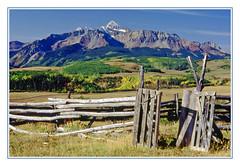 An Old Time Split Rail Corral in Colorado - 1991 (sjb4photos) Tags: colorado coloradorockies sanjuanmountains fence fencefriday hff epsonv500 wilsonpeak corral