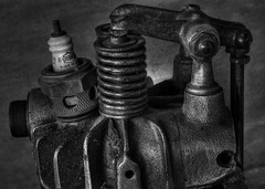 Spring Powered (arbyreed) Tags: arbyreed machine motor engine motorcycle motorcycleengine close closeup texture metal sparkplug legends monochrome bw blackandwhite