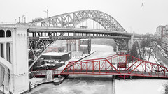 Snow falls Slow (aerialagents) Tags: snow frozen cleveland ohio bridge winter midwest great lakes drone aerialagents
