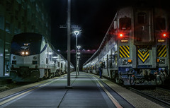 track 1 and 2 (pbo31) Tags: bayarea eastbay alamedacounty california nikon d810 color night dark black march 2019 boury pbo31 oakland jacklondonsquare amtrak train station platform track travel rail infinity depthoffield engine