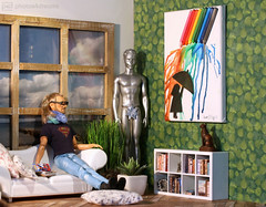 sophisticated home: the new painting (photos4dreams) Tags: mattel doll toy photos4dreams p4d photos4dreamz play fashion fashionistas outfit kleider mode puppenstube tabletopphotography diorama scenes 16 canoneos5dmark3 ken liamneeson starwarsii male man mann banksy