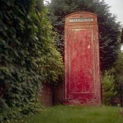 Anarchist Phonebox (BunnySafari) Tags: 2018 garden telephonebox england bunnysafari uk cityofyork york august porta160 yorkshire holiday yashicamat124g film red fpp