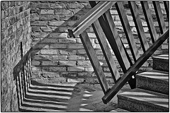Every new day is another step of life, accompanied by light and shadows. (ahmBerlin) Tags: step stairs light shadow licht schatten bw sw monochrome stufen canon