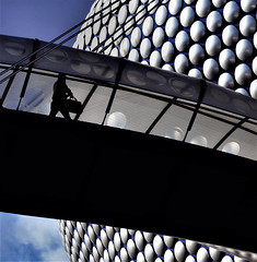 on the bridge (alexi278) Tags: patterns circles walking sky bridge carrying bag cables architecture street