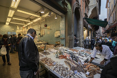 fish market (cyberjani) Tags: italy architecture street city people photo building sky tower road bologna