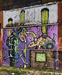 Radioactive Ratcatcher by Denton Burrows (wiredforlego) Tags: graffiti mural streetart urbanart publicart aerosolart williamsburg brooklyn newyork nyc ny dentonburrows