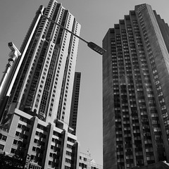 Central Sydney (little_frank) Tags: sydney newsouthwales australia downunder skyscraper architecture blackandwhite blackwhite up facade building geometry style