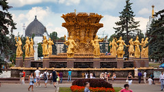 Fountain Friendship of Nations (VDNH, Moscow, Russia) (KonstEv) Tags: fountain vdnh moscow ussr soviet russia вднх москва statue monument sculpture golden woman national country dress wheat sheaf