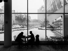 With the snow (dharder9475) Tags: 2019 bw blackandwhite cafe lgv30 outside peggynotebaertnaturemuseum privpublic silhouette snow streetphotography window winter