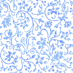 Seamless  pattern with blue fantasy flowers (heliga3333) Tags: abstract backdrop background decor decoration design endless fine graphic graphical infinity ornament pattern print recurring seamless abstractflo abstracttexture abstractvector bohemian cozy difficult drawn hand natural fantastic floral flower handdrown