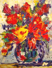 Yellow Flower (entwoman) Tags: painting acrylic flowers floral burridge negativepainting