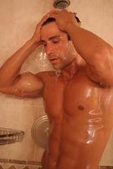 370 (Glistening Man) Tags: water wet man guy shiny shining shower skin body