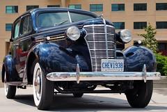 1938 Chevrolet four-door sedan - Civic Centre, Mississauga, Ontario. (edk7) Tags: olympuspenliteepl5 edk7 2014 canada ontario mississauga civiccentre mississaugacityhall celebrationsquare mississaugaclassiccarclub classicsonthesquare 1938chevroletfourdoorsedan car automobile classic vintage old auto vehicle restored
