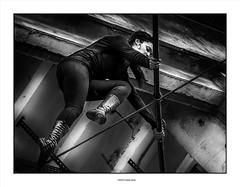 Tightrope Walker concentration ... (michel di Méglio) Tags: tightropewalker olympus frichedelebelledemai marseille 40150mm zuiko bw monochrome noiretblanc light shadow artist funambule