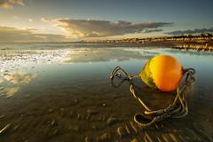 Essex Thorpe Bay (daveknight1946) Tags: essex southend thorpebay mud water buoy orangebuoy chain rope coast clouds reflection