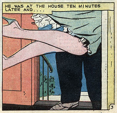 "He was at the house ten minutes later and.. ""Tears of a Fool"", Teen-Age Love #8 (1959), art by Vince Colletta (gameraboy) Tags: tearsofafool teenagelove 8 1959 art vincecolletta 1950s romance romancecomics comics comicbook comicbookart illustration vintage"