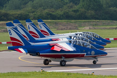 PdF 5 6 8 9 lined up for departure (spbullimore) Tags: 5 fuhrr e146 e jet alpha dassault de patrouille 20300 epaa france french air force armee lair 2018 cambridge airport e98 6 ftemf e139 8 fugfc e45 9 ftetf