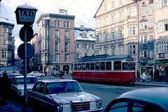 Taxi Stand & Trolley, Innsbruck, Austria (Joseph Hollick) Tags: innsbruck austria street road 35mmfilm 35mm taxi trolley bus