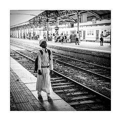 Kid in train station. Colombo. (Marcello Arduini) Tags: colombo srilanka station bw kid candid sony sigma 50mm