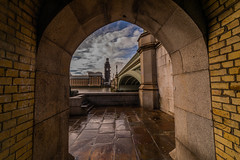 Framed Big Ben (trevorhicks) Tags: big ben london archway naked nude river thames water sky outdoors scaffolding bridge buiding paving slabs wet clouds tower bricks westminster canon 5d mark iv sigma